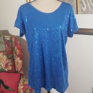 Royal blue sequined short sleeves top. Size XL